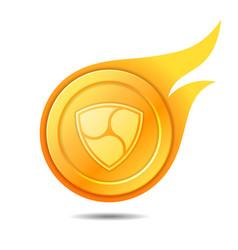 Flaming nem coin symbol icon sign emblem vector