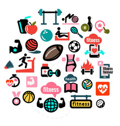 Flat fitness icons 1 vector