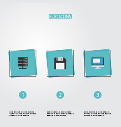 Flat icons diskette datacenter display and other vector