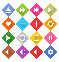 Flat media icon 16 set rhombus web button vector