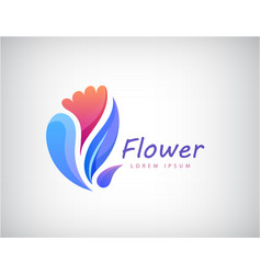 floral leaves flowers logo for spa vector image