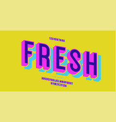 Fresh font 3d bold colorful style vector