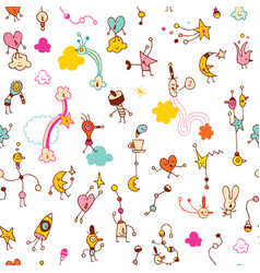 fun little cartoon characters seamless pattern vector image