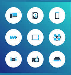 gadget icons colored set with hard drive vector image