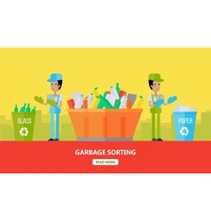Garbage Sorting Banner Men Sort Glass and Paper vector