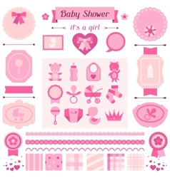 Girl baby shower set of elements for design vector