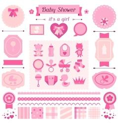 Girl bashower set elements for design vector