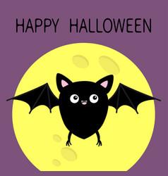 Happy halloween cute black bat flying silhouette vector
