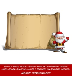 Happy Santa Scroll Sack of Gifts vector image