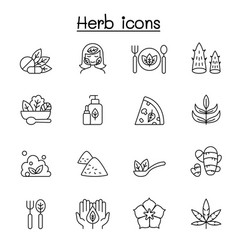 herb icon set in thin line style vector image