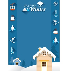 Houses with Winter Icons Frame vector image