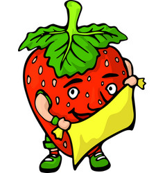 isolated funny cartoon red berry with fabric vector image