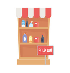 Isolated shopping shelf with products vector