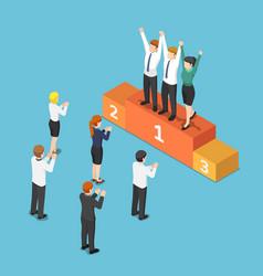 isometric business team on winner podium and vector image
