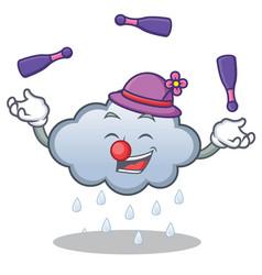 Juggling rain cloud character cartoon vector