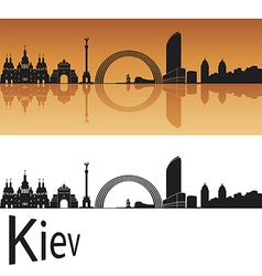 Kiev skyline in orange background vector