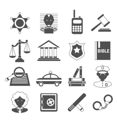 Law icons white and black vector image