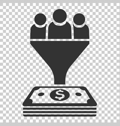 lead management icon in flat style funnel with vector image