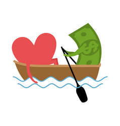 love and money ride in boat selling love dollar vector image
