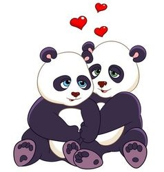 love cartoon pandas vector image