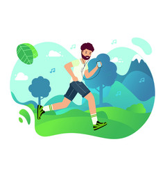 man is jogging in park and listening to music vector image