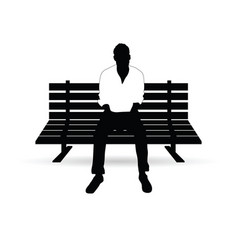 Man silhouette sitting on bench vector