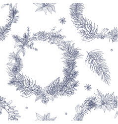 monochrome seamless pattern with beautiful vector image vector image