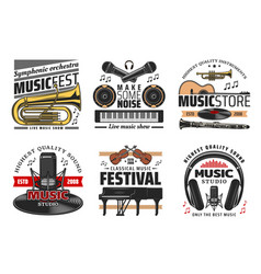 musical instruments icons concerts and festival vector image