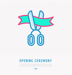 Opening ceremony symbol scissors cutting ribbon vector