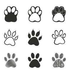 Paw icon set vector