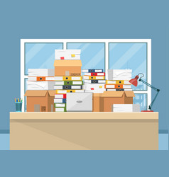 Pile of paper documents on office table vector