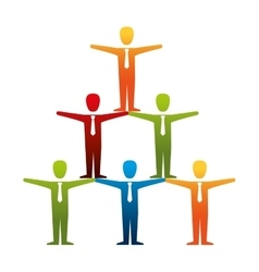 Pyramid teamwork people isolated icon vector