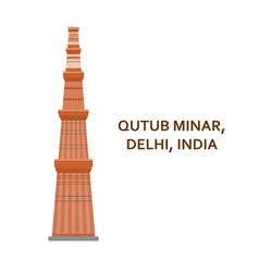 qutub minar delhi indian most famous sight vector image