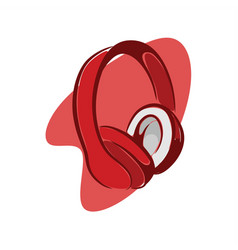 red headphone vector image
