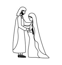 Saint joseph and mary virgin pregnancy manger vector