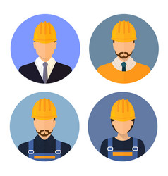 Set of avatars of the builders builders vector