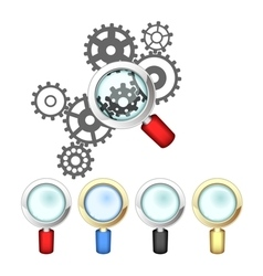 Set of magnifying glasses and mechanism vector image