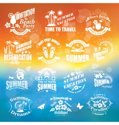 Set of summer design elements and frames vector image