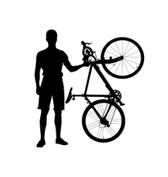 Silhouette of man with bicycle vector image