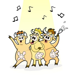 Singing cows vector