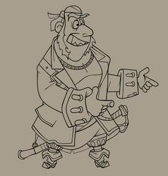 Sketch cartoon character a joyful pirate vector
