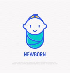 smiling newborn thin line icon vector image