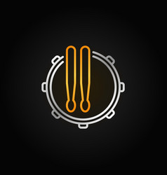 Snare drum icon or symbol in thin line vector
