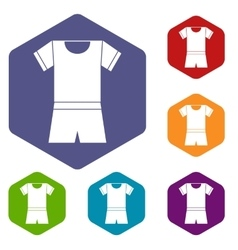 Sport shirt and shorts icons set vector