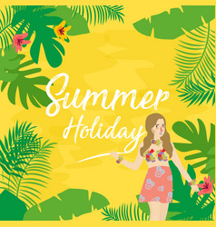 summer holiday flat icons with lettering vector image