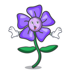 Surprised periwinkle flower mascot cartoon vector