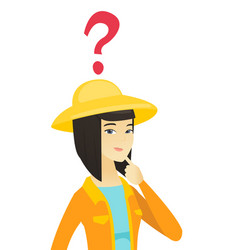 Thinking young asian farmer with question marks vector