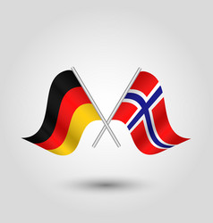 Two crossed german and norwegian flags vector