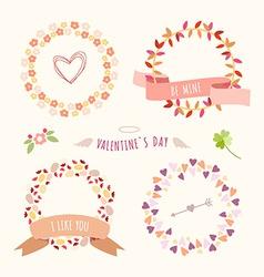 Valentines Day hand drawn set vintage style design vector image