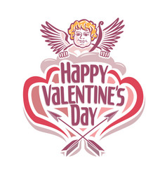 Valentines day with cupidon vector